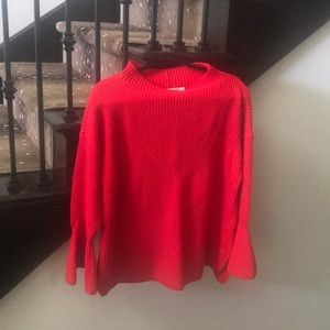 Red mock neck bell sleeve sweater
